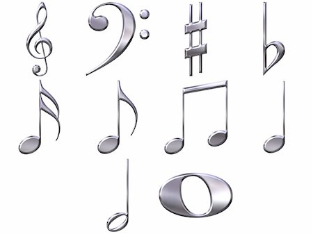 quarter note - 3d silver music notes isolated in white Stock Photo - Budget Royalty-Free & Subscription, Code: 400-05130087