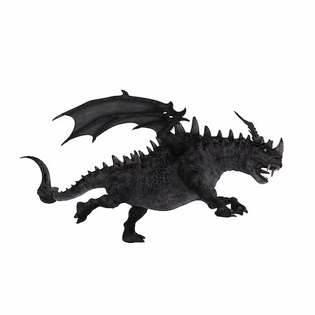 running away scared - 3D Rendering of a huge Fantasy Dragon with Clipping Path Stock Photo - Budget Royalty-Free & Subscription, Code: 400-05130767