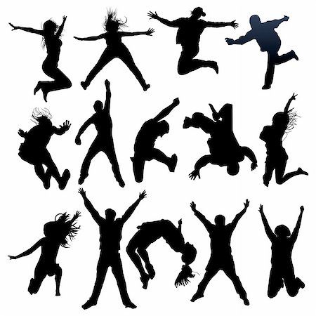 simsearch:400-04222950,k - vector jumping and flying people silhouettes Stock Photo - Budget Royalty-Free & Subscription, Code: 400-05130990