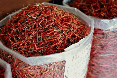 a sack of dried chilli pepper at asian market Stock Photo - Budget Royalty-Free & Subscription, Code: 400-05131823