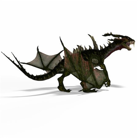 running away scared - Giant fantasy dragon with great wings. With Clipping Path Stock Photo - Budget Royalty-Free & Subscription, Code: 400-05132444