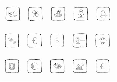 Finance and Banking icons sketch series Stock Photo - Budget Royalty-Free & Subscription, Code: 400-05133703