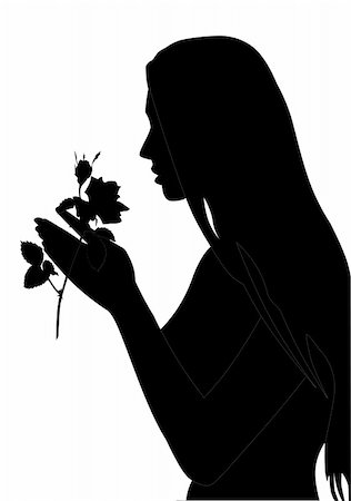 We have a silhouette of the young girl with a rose Stock Photo - Budget Royalty-Free & Subscription, Code: 400-05144245