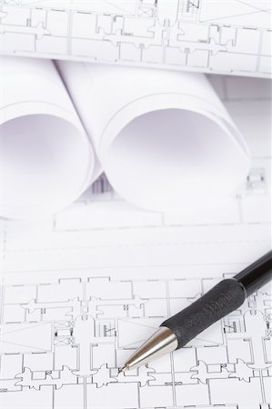 Construction plans and automatic pencil. Shallow depth of field Stock Photo - Budget Royalty-Free & Subscription, Code: 400-05144254