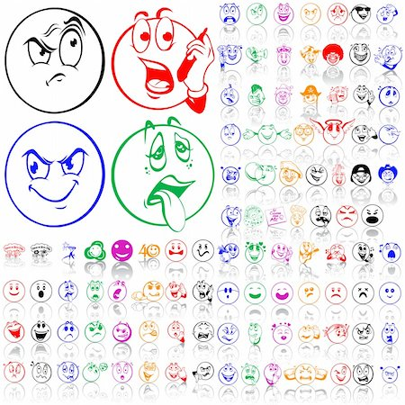 Set of smilies. Part 1. Isolated groups and layers. Global colors. Stock Photo - Budget Royalty-Free & Subscription, Code: 400-05147364
