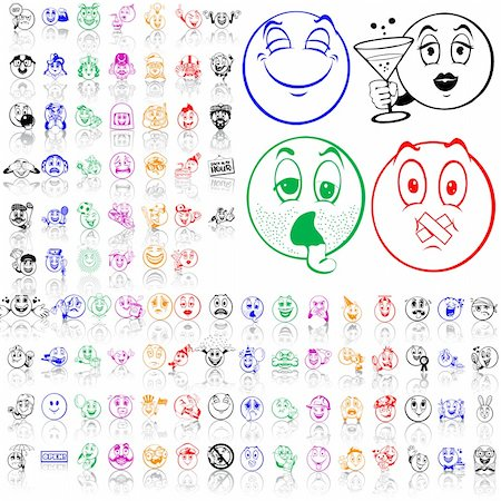Set of smilies. Part 2. Isolated groups and layers. Global colors. Stock Photo - Budget Royalty-Free & Subscription, Code: 400-05147365