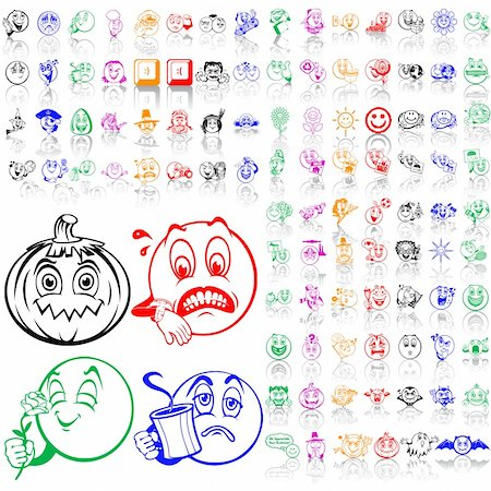 Set of smilies. Part 3. Isolated groups and layers. Global colors. Stock Photo - Budget Royalty-Free & Subscription, Code: 400-05147366