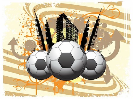 swirl graphic score - vector illustration soccer city background Stock Photo - Budget Royalty-Free & Subscription, Code: 400-05147515