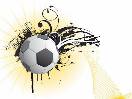 swirl graphic score - grungy football with artistic design and wave illustration Stock Photo - Budget Royalty-Free & Subscription, Code: 400-05147544