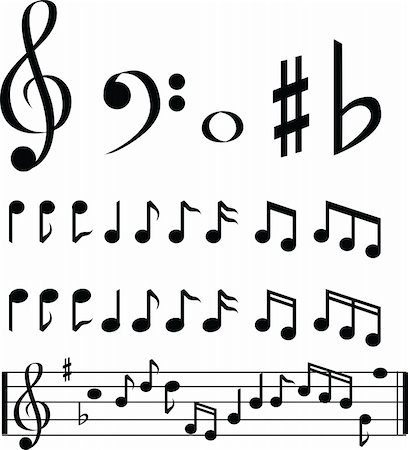 black and white music note selection icon set Stock Photo - Budget Royalty-Free & Subscription, Code: 400-05148996