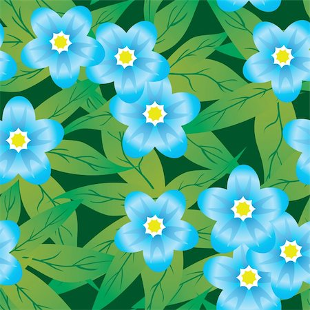 flores - Abstract forget-me-nots flowers background. Seamless. Blue - green palette. Vector illustration. Stock Photo - Budget Royalty-Free & Subscription, Code: 400-05149143