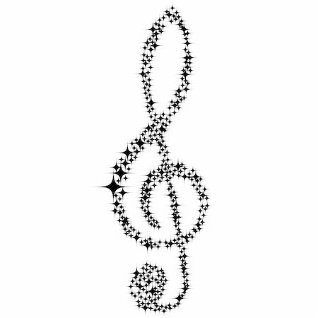 Musical notes clef vector background for use in design Stock Photo - Budget Royalty-Free & Subscription, Code: 400-05142989