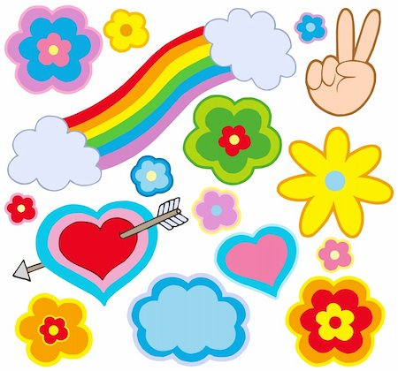 flower clipart paint - Hippie decorations on white background - vector illustration. Stock Photo - Budget Royalty-Free & Subscription, Code: 400-05143412