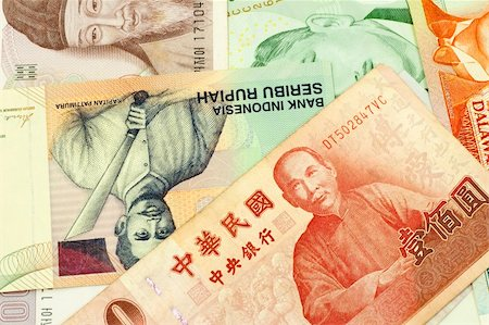 Currencies of Singapore, Taiwan, Korea, Brunei Darussalam and Indonesia. Stock Photo - Budget Royalty-Free & Subscription, Code: 400-05154243