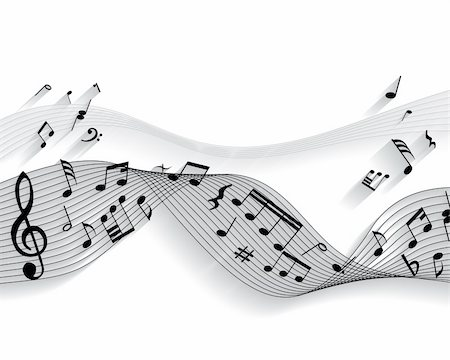 simsearch:400-05714680,k - Vector musical notes staff background for design use Stock Photo - Budget Royalty-Free & Subscription, Code: 400-05155004