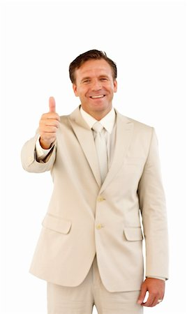Happy seniro business man showing a success sign Stock Photo - Budget Royalty-Free & Subscription, Code: 400-05156299