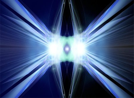 Symmetric fractal of blue light Stock Photo - Budget Royalty-Free & Subscription, Code: 400-05156849
