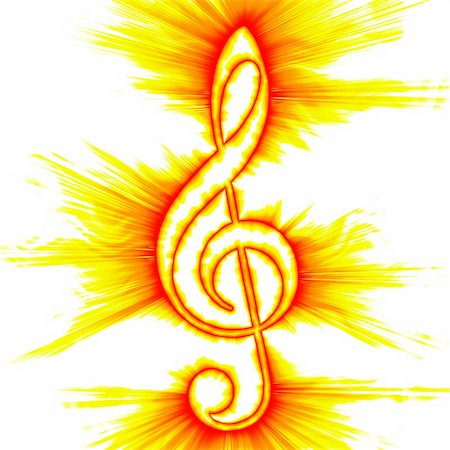 Abstract fiery outlined treble clef Stock Photo - Budget Royalty-Free & Subscription, Code: 400-05156965