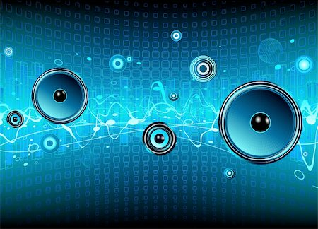 Vector illustration of blue abstract party design with urban music scene - Speakers and sound waves Stock Photo - Budget Royalty-Free & Subscription, Code: 400-05157575