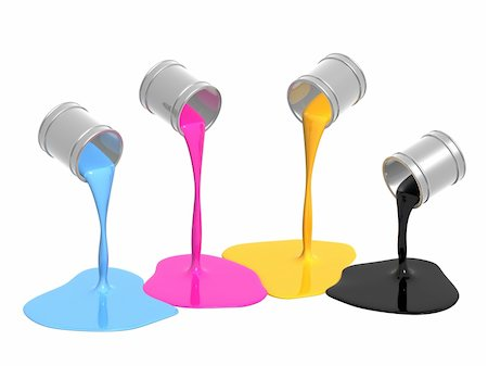 pouring paint art - Conceptual image - a palette CMYK. Objects over white Stock Photo - Budget Royalty-Free & Subscription, Code: 400-05157660