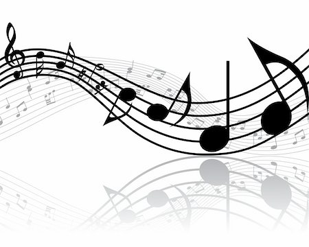 simsearch:400-05714680,k - Vector musical notes staff background for design use Stock Photo - Budget Royalty-Free & Subscription, Code: 400-05158687