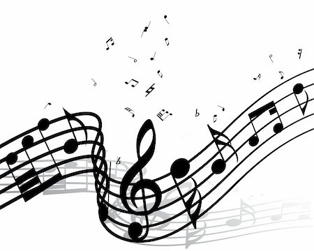simsearch:400-05714680,k - Vector musical notes staff background for design use Stock Photo - Budget Royalty-Free & Subscription, Code: 400-05158688