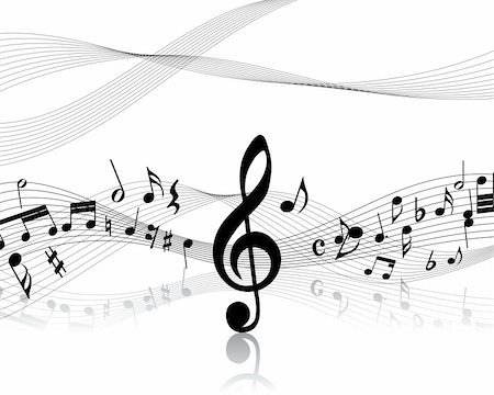 simsearch:400-05714680,k - Vector musical notes staff background for design use Stock Photo - Budget Royalty-Free & Subscription, Code: 400-05158690
