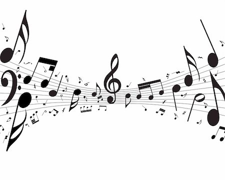 simsearch:400-05714680,k - Vector musical notes staff background for design use Stock Photo - Budget Royalty-Free & Subscription, Code: 400-05158691