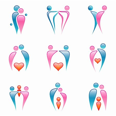 daughter kissing mother - Vector icons mostly about couples, love, family. Stock Photo - Budget Royalty-Free & Subscription, Code: 400-05150395