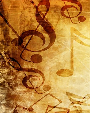 swirling music sheet - Old music sheet with some damage on it Stock Photo - Budget Royalty-Free & Subscription, Code: 400-05150672