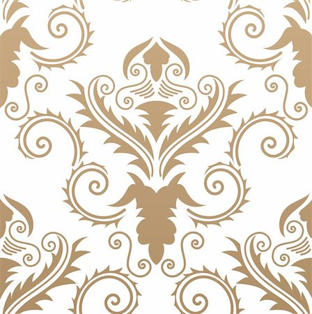 Damask seamless vector background.  For easy making seamless pattern just drag all group into swatches bar, and use it for filling any contours. Stock Photo - Budget Royalty-Free & Subscription, Code: 400-05152336