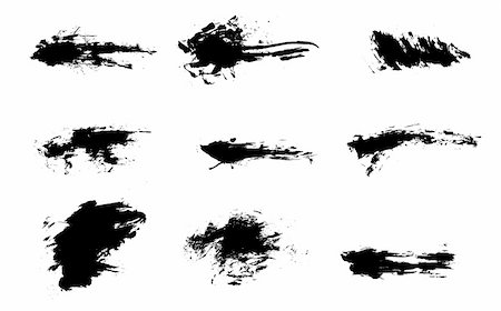 paint dripping abstract pattern - diffrent brushes set of grunge vector Stock Photo - Budget Royalty-Free & Subscription, Code: 400-05153014