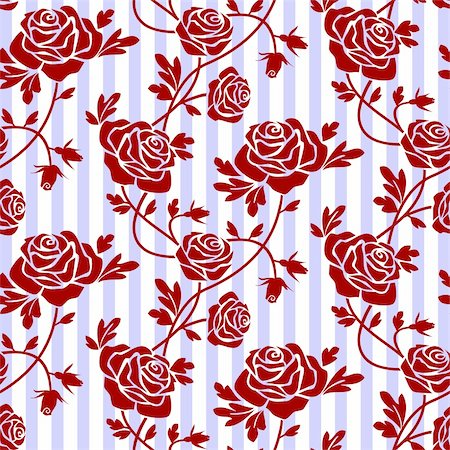 Retro background with roses and leaves. Stock Photo - Budget Royalty-Free & Subscription, Code: 400-05153794