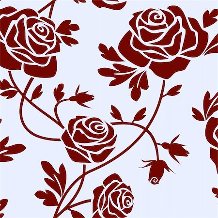 Romantic roses seamless pattern tile. Stock Photo - Budget Royalty-Free & Subscription, Code: 400-05153796