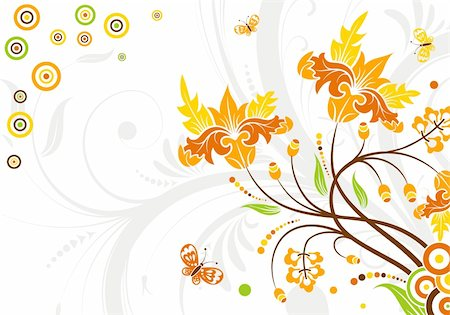 simsearch:400-04290504,k - Floral background with circle and butterfly, element for design, vector illustration Stock Photo - Budget Royalty-Free & Subscription, Code: 400-05153825