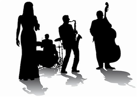 Vector drawing concert of jazz music. Silhouettes on a white background Stock Photo - Budget Royalty-Free & Subscription, Code: 400-05153978