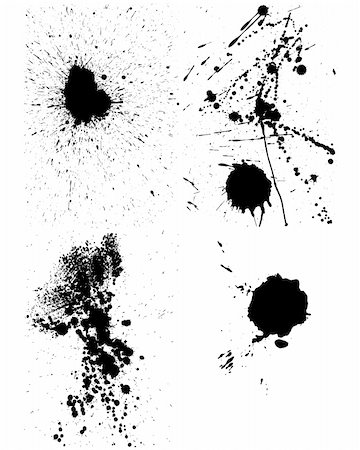 paint dripping abstract pattern - Set of vector ink blots  for grunge design Stock Photo - Budget Royalty-Free & Subscription, Code: 400-05164945