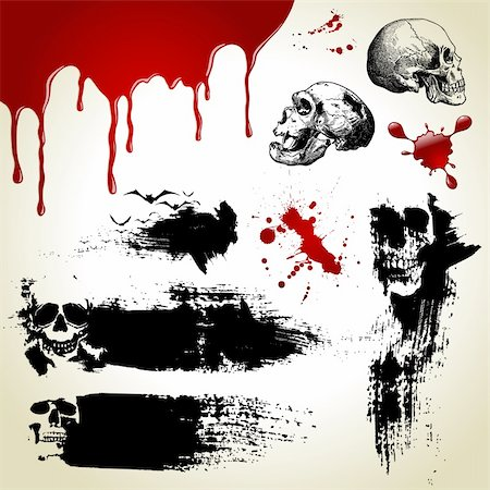 dripping blood illustration - Halloween vector set: scary textures, skulls and blood Stock Photo - Budget Royalty-Free & Subscription, Code: 400-05166003
