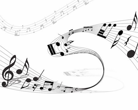Vector musical notes staff background for design use Stock Photo - Budget Royalty-Free & Subscription, Code: 400-05166464