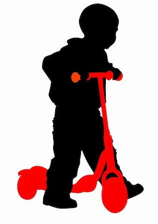 sports scooters - Vector drawing the little boy on the scooter. Silhouette on white background Stock Photo - Budget Royalty-Free & Subscription, Code: 400-05167742