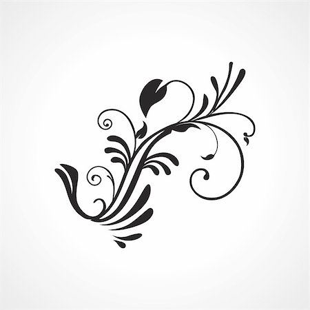 white background with isolated black floral tattoo Stock Photo - Budget Royalty-Free & Subscription, Code: 400-05168097