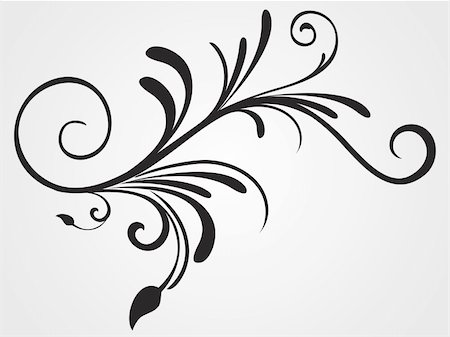 pretty in black clipart - abstract element filigree pattern tattoo Stock Photo - Budget Royalty-Free & Subscription, Code: 400-05168141