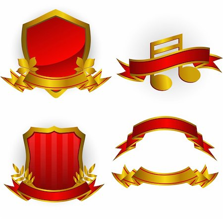 Set of red vector emblems and banners. Isolated on white. EPS 8, AI, JPEG Stock Photo - Budget Royalty-Free & Subscription, Code: 400-05168357