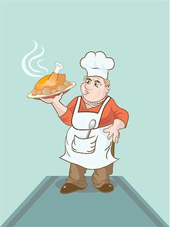 Cartoon cook keeping a plate with baked chicken Stock Photo - Budget Royalty-Free & Subscription, Code: 400-05168489