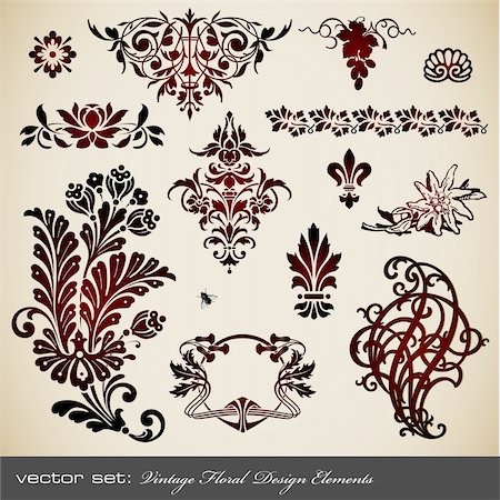 collection of vintage floral ornaments and design elements Stock Photo - Budget Royalty-Free & Subscription, Code: 400-05168740