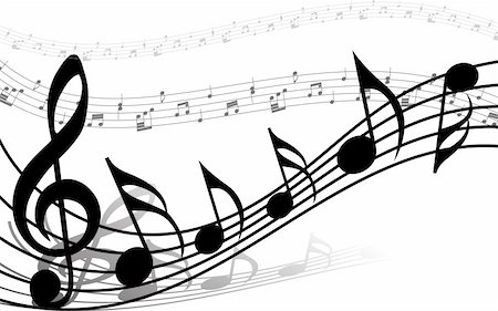 picture of music staff with notes - Vector musical notes staff background for design use Stock Photo - Budget Royalty-Free & Subscription, Code: 400-05160235