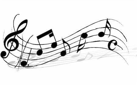 picture of music staff with notes - Vector musical notes staff background for design use Stock Photo - Budget Royalty-Free & Subscription, Code: 400-05162021