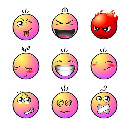Set of impish, shout, angry, lovely, laugh, smile, afraid, dizzy and silent smiley Stock Photo - Budget Royalty-Free & Subscription, Code: 400-05162233