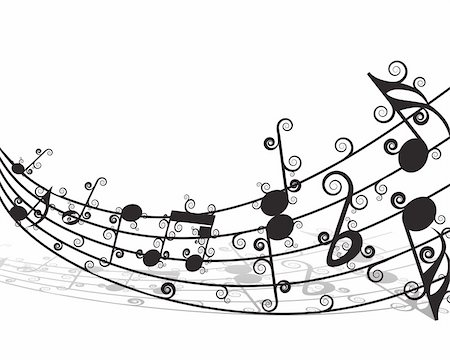 simsearch:400-04676325,k - Vector musical notes staff background for design use Stock Photo - Budget Royalty-Free & Subscription, Code: 400-05175434