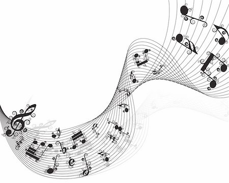 Vector musical notes staff background for design use Stock Photo - Budget Royalty-Free & Subscription, Code: 400-05175435